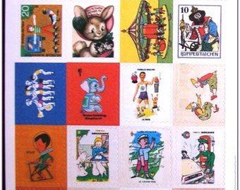 """Stamp sticker stickers for scrapbooking retro vintage """"model 15"""" 1 embroidery sheet of 20 stamps"""