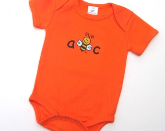 Organic Cotton Bodysuit | Short Sleeve | Front Screen Printed ABC | Back Screen Printed BEE | 5 Colors | Super Soft | 3-6 M | 6-12 M
