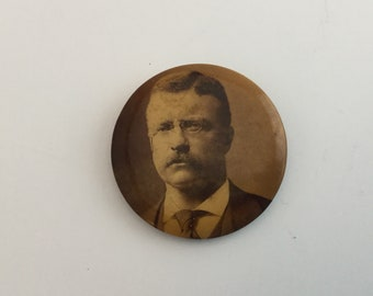 Vintage Teddy Roosevelt Pinback Campaign Button Presidential Election Theodore Roosevelt
