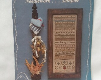 Cross Stitch Pattern Vintage Sampler Home Is Where You Hang Your Needlework