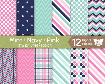 Mint Navy Blue Pink Digital Paper, Baby Shower Girl Boy Seamless Pattern, Tileable Background, Kraft Papers Download, Commercial Use