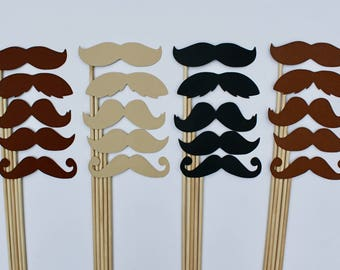 20 Mustaches on sticks - Mustache Photo Props - 4 Assortments of colors for your next Photo Booth event