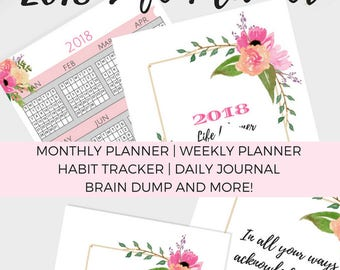 2018 Planner Printable, Weekly Planner, Filofax A5 Planner Pages, Monthly Calendar, Student Planner, Yearly Diary Half Size