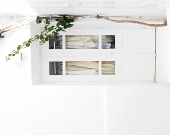 """White wall art - Greece photography - white home decor - minimal modern - lace clothes window door """"White Lace on White"""""""