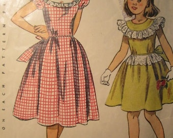 Simplicity 2820 vintage 1940's Girl's Ruffle Top Party Dress Sewing Pattern -Yoke Top Puff Sleeve Party Dress Pattern -40's Children size 12