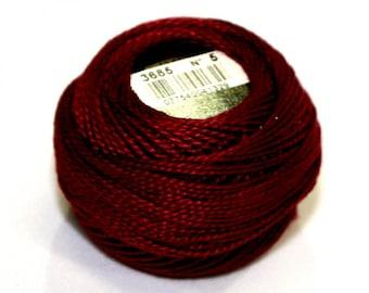 DMC 3685 Very Dark Mauve Perle Cotton Thread Size 5