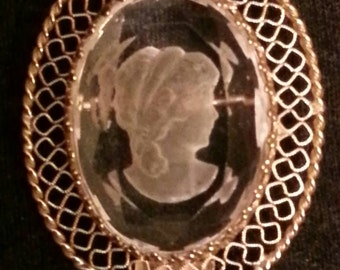 Glass Brooch, Lady Silhouette, Cameo Silhouette of Lady Brooch, Clear Glass Brooch, Lady, Marked K/M 1968