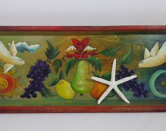 Large Sticks Tray; Hand-Crafted Etched Contoured and Painted Tray
