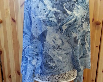 Blue Chiffon Poncho, Beach Cover Up, Swirls Pattern, Nursing Scarf, Multi Wear