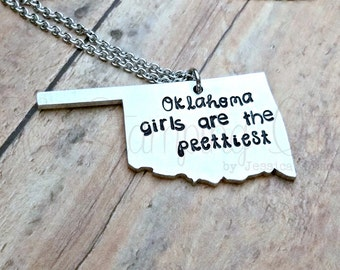 Oklahoma | Oklahoma Necklace | Oklahoma Gifts | State Necklace | State Pride | Pretty Girl | Oklahoma State | Oklahoma Girl | State Jewelry