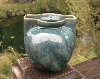 Dryden Pottery Vase, Mid Century, Arkansas Pottery, Cottage Chic, Teal and Tan, FREE SHIPPING