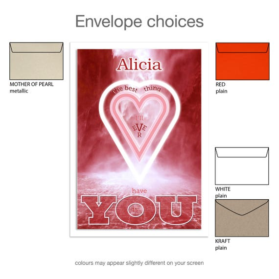 Personalised name romantic Valentine card for husband or