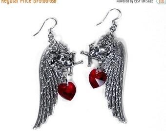 Steampunk Jewelry Earrings Silver Wings GOTHIC SKULL Earrings,Red Heart Crystal Steam Punk Biker, Holiday Gift Women - Jewelry by edmdesigns