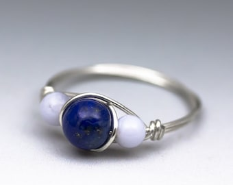 Sodalite & Blue Lace Agate Gemstone Sterling Silver Wire Wrapped Ring - Made to Order, Ships Fast!