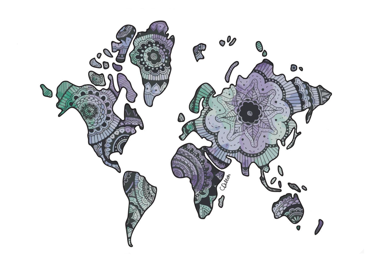 Acuarela de zentangle mundo mapa imprimir ampliar gumiabroncs Images