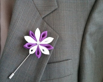 Lapel Pin, Brooch, Purple, White, Silk Flower Kanzashi, Boutonniere For Men And Women