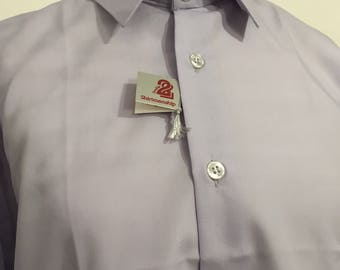 SOLD 1980s Unworn gents shirt, pin stripem pink and blue on white, Double Two Shirtmanship