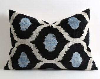 Navy Blue Ikat Pillow Cover - Blue Black Velvet Pillow Decorative Throw Pillow Cushion Blue Ikat Pillow Couch Pillow Cover Soft Pillow