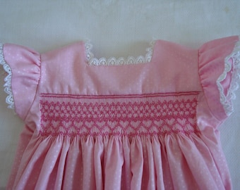 Hand smocked baby sundress size 12 months