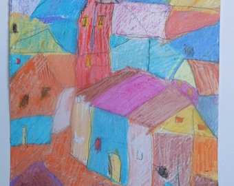 Original drawing with wax chalk, according to Paul Klee, abstract, modern landscape, multi-colored, white paper A3 signed