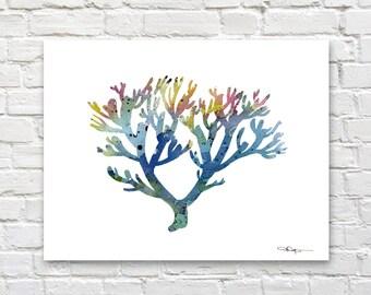 Blue Coral Art Print - Abstract Watercolor Painting - Wall Decor