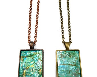 Iridescent  Shimmery Turquoise Pendant Necklace, Repurposed, Recycled, Upcycled CD Jewelry, Unique Handmade Gifts, Modern