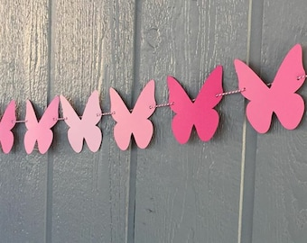 Butterfly Garland - Butterfly Banner - Butterfly Shower - Butterfly Birthday - Butterfly Kisses - Pink Butterfly Garland - Birthday Decor