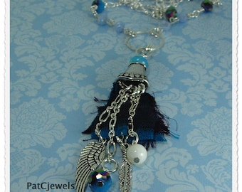 Blue Tassel Necklace, Sari Ribbon Tassel Necklace, Wings and Feather Tassel Necklace