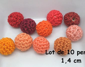 color orange Mercerized cotton crochet 10 beads (1.4 cm)