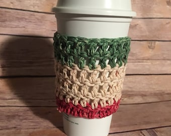 Holiday Green Red and Tan Colored Crochet Coffee Cozy, Drink Sleeve
