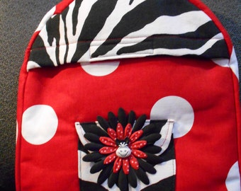 Toddler Backpack in red and zebra print canvas