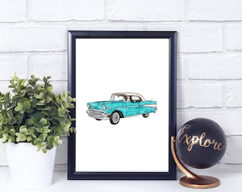 Turquoise Chevrolet Watercolor// Vintage// Printable