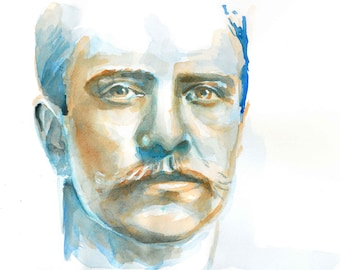 Print of Young Teddy Roosevelt watercolor painting