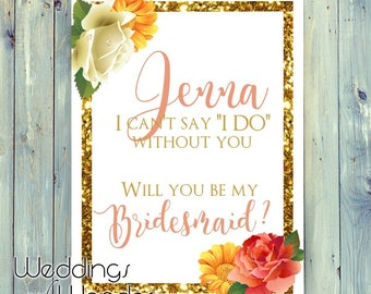 Gold Floral Coral Bridesmaid Proposal - Wine Bottle Label