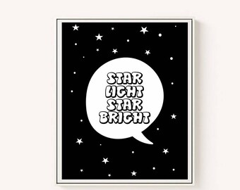 star light star bright, nursery decor, black and white print, baby room, baby decor, stars print, nursery stars, 5 SIZES INCLUDED