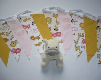 "10 Foot Cute Pink,White and Yellow Baby Fabric Bunting ""Jungle Babies"""