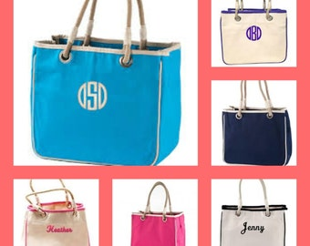 Monogrammed Rope Totes - Canvas