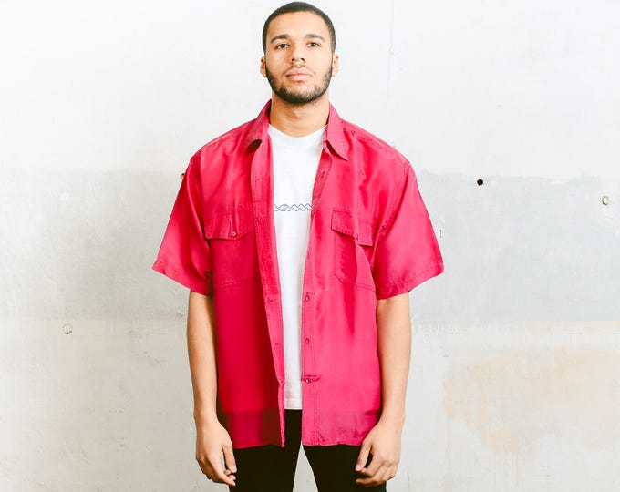 Pink Vintage Shirt . 90s Mens Short Sleeve Silk Summer Shirt Minimalist Top Super Lightweight Shirt Mens Unisex Clothing . size Medium M