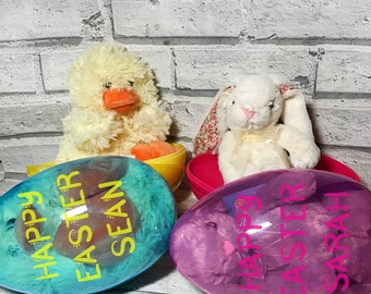 Easter Egg Plush Toy Bundle | Easter Bunny Plush | Easter Chick Plush | Personalised Easter Egg