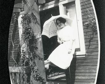 vintage photo Teenage Girl w PArasol on Porch