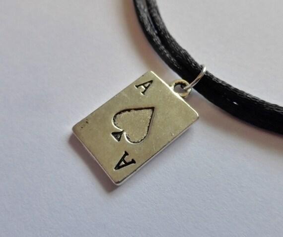 Silver ace of spades pendant adjustable black choker aloadofball Image collections