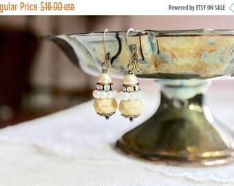30% OFF SALE Butter yellow bead, rhinestone, and pearl bead drop earrings, kidney wire earrings