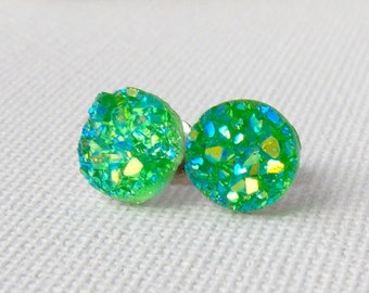 Green Druzy stud earrings / faux druzy / Aurora borealis / AB / girlfriend gift / gift for her / hypoallergenic / surgical steel studs
