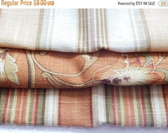 CLEARANCE - 3 pieces orange multi woven fabrics, 10 x 10 inches