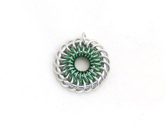 Mint Green Pendant, Chain Maille Pendant, Jump Ring Jewelry, Aluminum Jewelry, Spiral Pendant