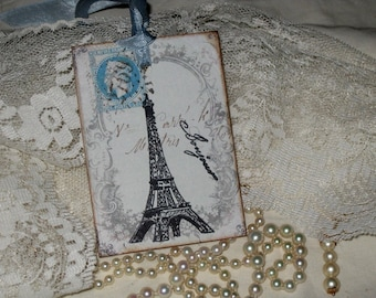 Vintage Paris French Script Ephemera Gift Tags Paris Apartment Ooh La La Eiffel Tower