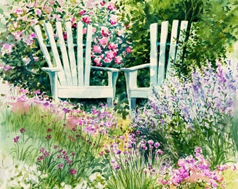 Garden Wall Art, Garden Painting, Adirondack Chair Wall Art, Watercolor  Painting, Flower