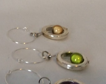 Set of Four Colorful Beaded Wine Charms