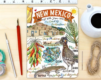 New Mexico notebook, blank journal, personalized stationery, gift, illustration, The Land Of Enchantment, state symbols.