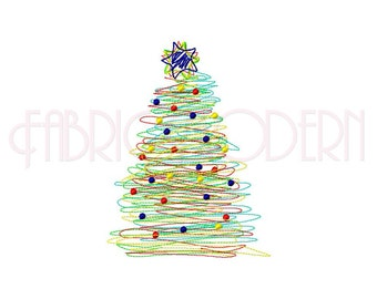 Christmas Tree Embroidery Design  Scribble Christmas tree design  multiple sizes  #538